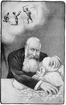 手を切り落とされるコンゴ人を尻目にコンゴで儲けるレオポルド2世を批判した風刺画
