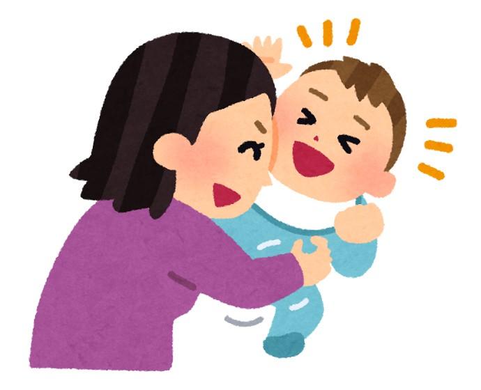 赤ちゃんをくすぐる親