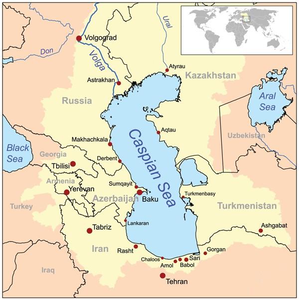カスピ海周辺の地図