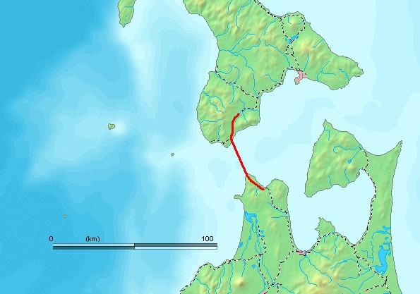 青函トンネルの位置