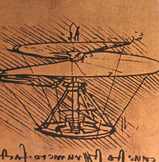 ダ・ヴィンチのヘリコプター図案